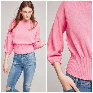 Pink Balloon Sleeve Sweater - Knitted & Knotted